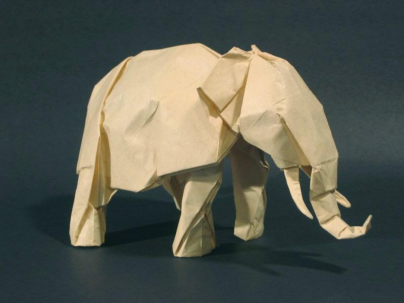 Оригами схема слона из бумаги.